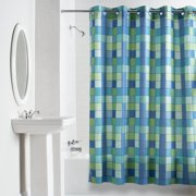 Hookless Blue Green Checkmate Polyester Shower Curtain