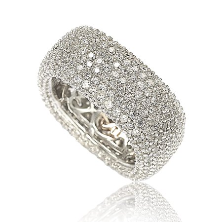 Huge Cubic Zirconia Ring - Sterling Silver Cubic Zirconia Square Pave Eternity Ring