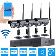 4CH NVR Wireless 720P WiFi IP Network Camera Kit Outdoor Indoor Home Security Surveillance Monitoring System With Night Vision