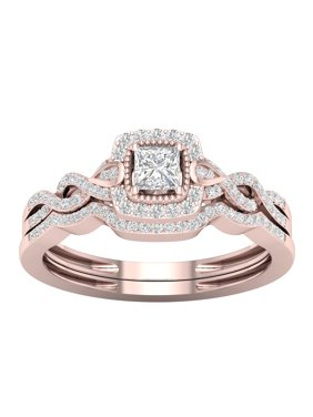 IGI Certified 1/3Ct TDW Diamond 10k Rose Gold Twist Shank Halo Bridal Set (H-I, I2)