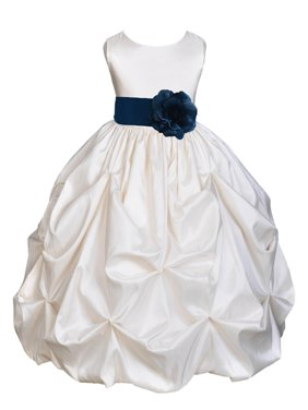 Ekidsbridal Taffeta Bubble Pick-up Ivory Flower Girl Dress Weddings Summer Easter Dress Special Occasions Pageant Toddler Girl's Clothing Holiday Bridal Baptism Junior Bridesmaid First Communion 301S