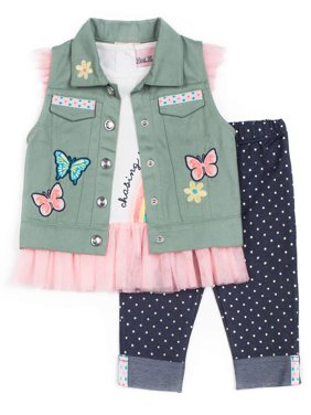 Woven Twil Vest, Short Sleeve Glitter Tulle Top & Capri, 3pc Outfit Set (Baby Girls & Toddler Girls)