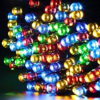 Qedertek Christmas Lights Solar String Lights 72ft 200 LED Fairy Lights 8 Modes Ambiance Lighting for Outdoor Patio Lawn Landscape Garden Home Wedding (Purple)