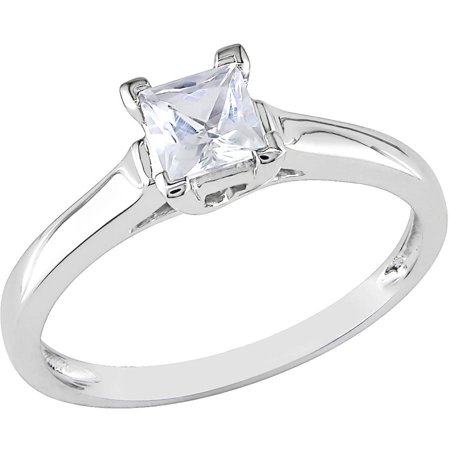 3/5 Carat T.W. Princess-Cut Created White Sapphire 10kt White Gold Solitaire Engagement Ring