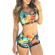 7839a061201f1 Womens Print Bikini Set Crop Top High Waist Shorts Beach Bathing Suit  Swimsuit