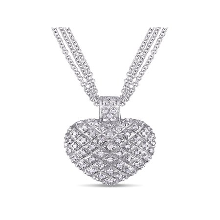 1 Carat T.W. Diamond Sterling Silver Heart Women's Pendant Necklace with 3-Strand Chain, 18