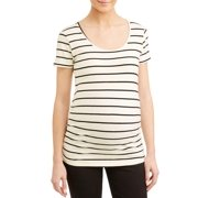 416c0e7b0de75 Maternity Stripe Sccop Neck Side Ruched Knit Top - Available in Plus Sizes