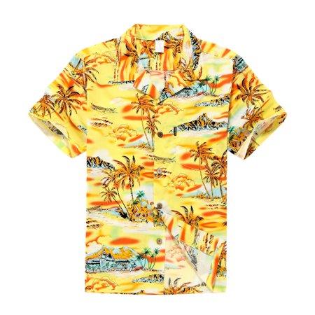 Hawaiian Shirt Aloha Shirt in Yellow Sunset with Palm (Palms Hawaiian Shirt)