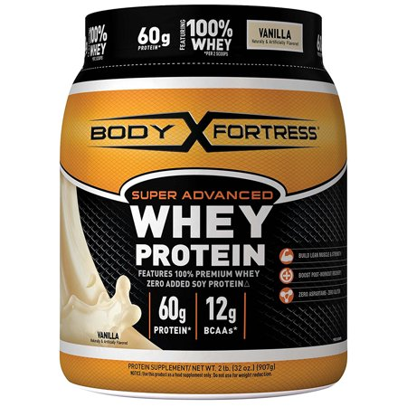 Vanilla 60 Chew - Body Fortress Super Advanced Whey Protein Powder, Vanilla, 60g Protein, 2 Lb