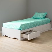 Crystal Twin Storage Bed (39'') with 3 Drawers, Pure White