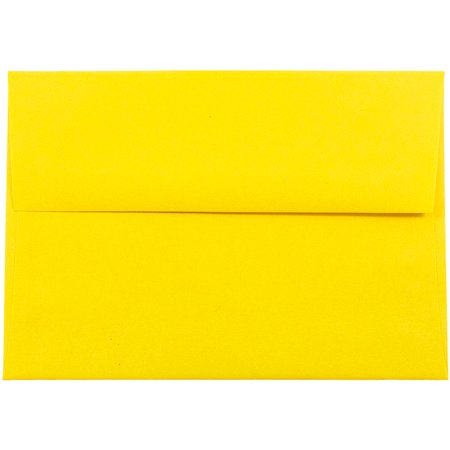 JAM Paper A7 Invitation Envelopes, 5 1/4 x 7 1/4, Brite Hue Yellow Recycled, 50/pack