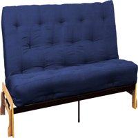 Phoenix 10-inch Loft Inner Spring Futon Sofa Sleeper Bed, Full-size, Natural Arms, Suede Dark Blue