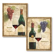 Gango Home Decor Vintage Style Wine Bottle Glass Grapes And Vineyard Kitchen Wall