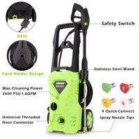 Electric Pressure Washer, Power Washer with 2600 PSI,1.6GPM, (4) Nozzle Adapter, Longer Cables and Hoses and Detergent Tank,for Cleaning Cars, Houses Driveways, Patios,and More