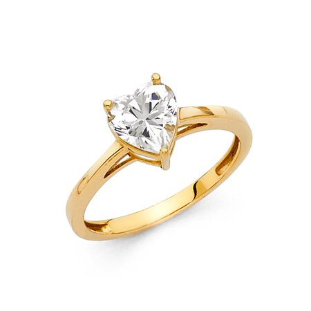 Jewels By Lux 14K Yellow Gold Cubic Zirconia CZ Engagement Ring Size (Octagon Gemstone Engagement Ring)
