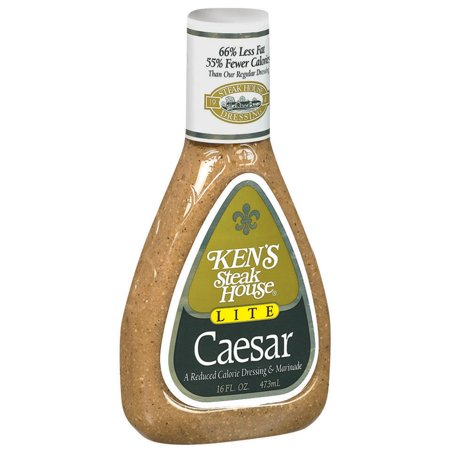 (3 Pack) Ken's Steak House Lite Caesar Salad Dressing, 16 Oz Bottle