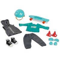 "My Life As 10-Piece Skateboard Play Set, Teal & Gray, Designed for 18"" Dolls"