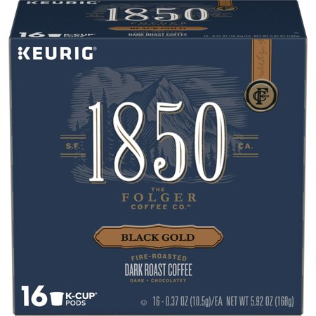 Good Gold Coffee - 1850 Black Gold, Dark Roast Coffee, K-Cup Pods for Keurig Brewers, 16-Count