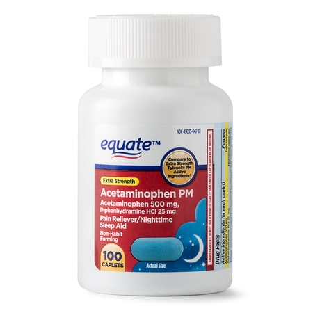 100 Count Caplets (Equate Extra Strength Acetaminophen PM Caplets, 500 mg, 100 Ct )