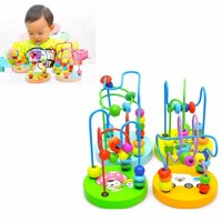 Mini Around Beads Wire Maze Roller Coaster Wooden Educational Game Toys Gift for Baby Kids Children