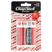 ChapStick Skin Protectant Lip Balm, Classic Strawberry, 0.15 oz, 3 pk