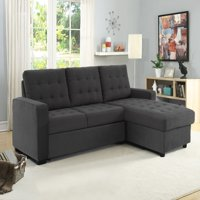 Serta Bostal Sectional Sofa Convertible: converts into a sofa, chaise, bed and storage under the chaise, Steel Grey