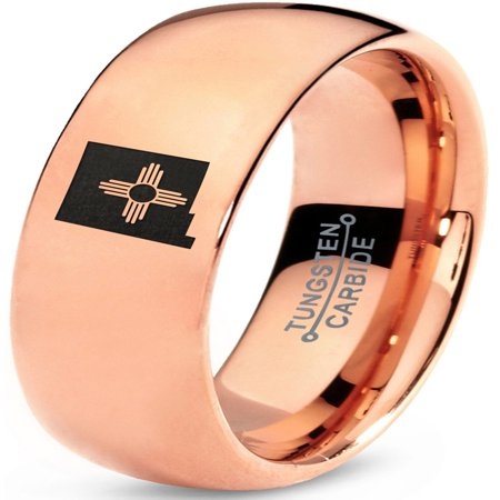 Tungsten New Mexico The Land of Enchantment State Zia Symbol Band Ring 7mm Men Women Comfort Fit 18k Rose Gold Dome Polished ()