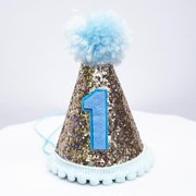 Gold Glitter Sparkles Blue 1st Birthday Boy Cone Party Hat Toddler First One Pom
