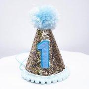 8b4f7af359f Gold Glitter Sparkles Blue 1st Birthday Boy Cone Party Hat Toddler First  One Birthday Pom Pom