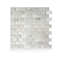 Smart Tiles 9.80 in x 9.74 in Peel and Stick Self-Adhesive Mosaic Backsplash Wall Tile - Ravenna Fabro (each)