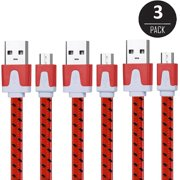 EEEKit 3 Packs 6Ft Nylon Braided Micro USB Charging Sync Data Cable Charger Cord for Samsung Galaxy Note 5/4/3/S7/S7 Edge/S6/S6 Edge/S6 Edge Plus Android Phones