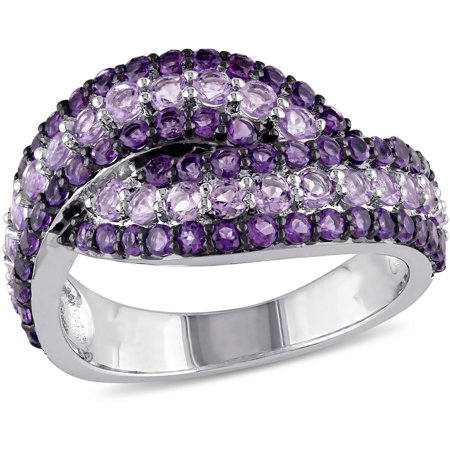 1-1/2 Carat T.G.W. Rose de France and Amethyst Sterling Silver Bypass (Olive French Ring)