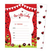 Lady Bug Style 3 Happy Birthday Invitations Invite Cards 25 Count With Envelopes