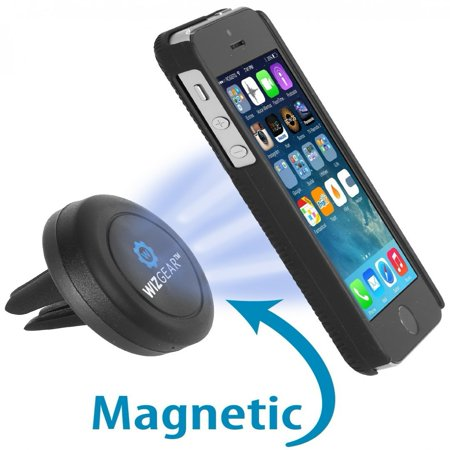 WizGear Universal Air Vent Magnetic Car Mount Holder, for Cell Phones and Mini Tablets with Fast Swift-Snap Technology, Magnetic Cell Phone Mount, Car Mount for iPhone