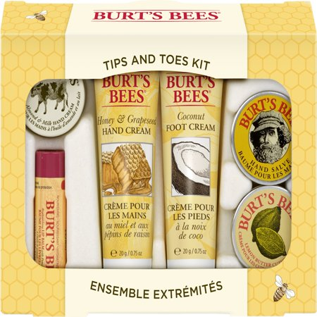 Burt's Bees Tips and Toes Kit Holiday Gift Set, 6 Travel Size Products in Gift Box - 2 Hand Creams, Foot Cream, Cuticle Cream, Hand Salve and Lip Balm - Hand Painted Gilt