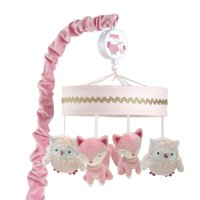 Lambs & Ivy Woodland Couture Pink/Gold Owl & Fox Musical Baby Crib Mobile