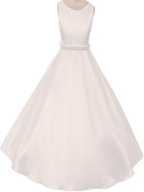 Big Girls' Satin Pearl Trim Wedding Holy First Communion Flower Girl Dress Ivory 10 (K38D6)