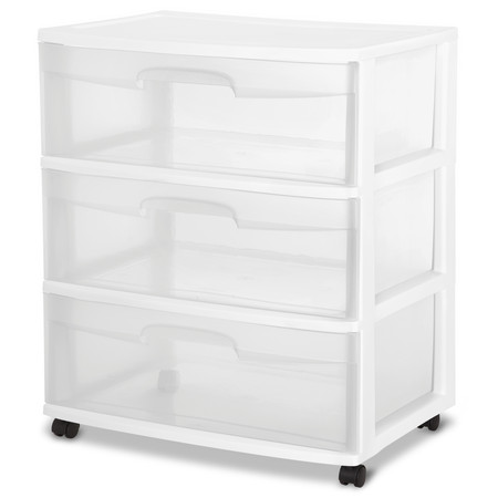 Sterilite 3 Drawer Wide Cart, White](Girls Clothes Store)