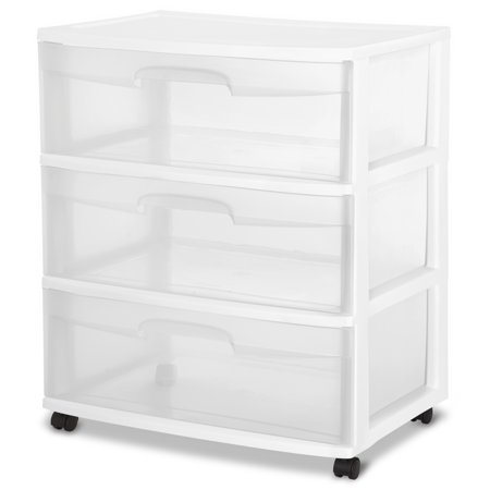 3 Open Storage - Sterilite 3 Drawer Wide Cart, White