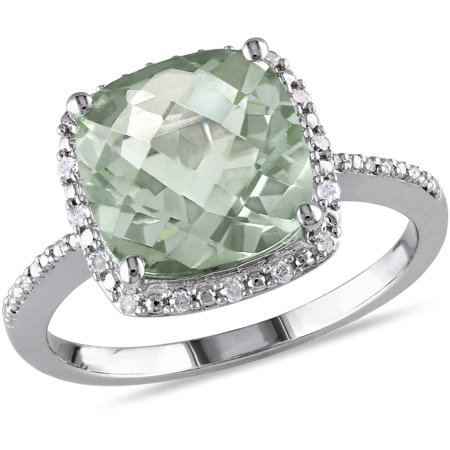 4 Carat T.G.W. Cushion-Cut Green Amethyst and 1/10 Carat T.W. Diamond Sterling Silver Halo Cocktail - Amethyst Bezel Diamond Ring