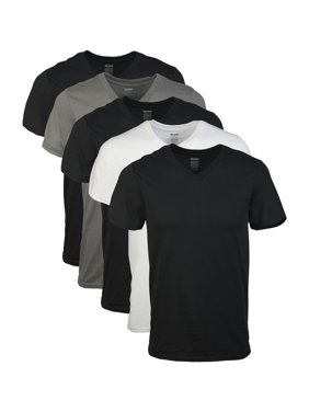 Gildan Mens Short Sleeve V-Neck Assorted Color T-Shirt, 5-Pack