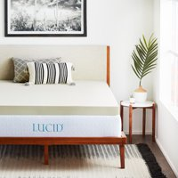 "Lucid 4"" Premium Ventilated Memory Foam Mattress Topper, Multiple Sizes"
