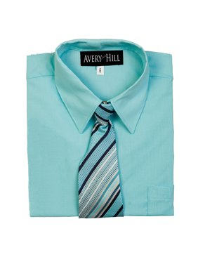 Avery Hill Boys Short Sleeve Dress Shirt With Windsor Tie