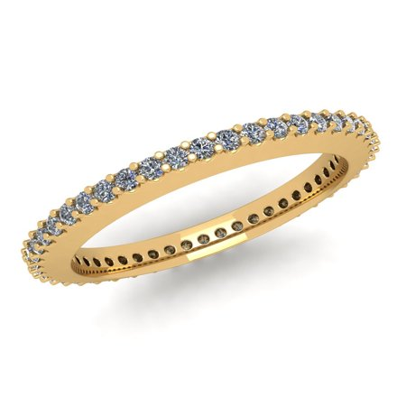 Natural .45Ct Round Cut Brilliant Diamond Stackable Women's Anniversary Wedding Eternity Band Ring Solid 10k Yellow Gold G-H