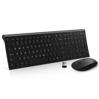 wireless mouse and keyboard combination, Jelly Comb 2.4 G Ultra Thin Rechargeable Wireless Keyboard and Mouse Combo for Laptop Desktop PC Computer (Black)