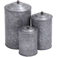 Decmode Metal Galvanized Canister, Set of 3, Multi Color