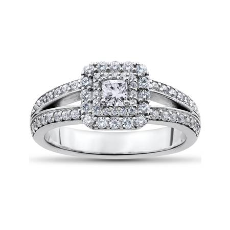 1 ct Princess Cut Diamond Double Halo Engagement Ring 14k White -