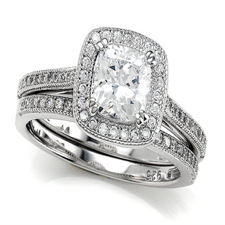 Sterling Silver Micro Pave Hand Set Cubic Zirconia CZ Halo 6mm Cushion Cut Center Wedding Set