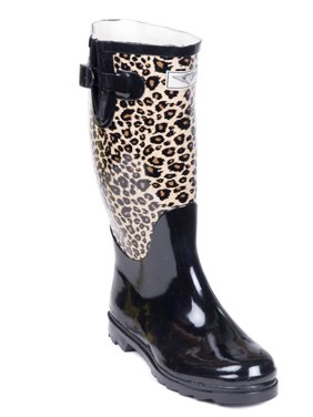 Women Rubber Rain Boots with Cotton Lining, Animal Print