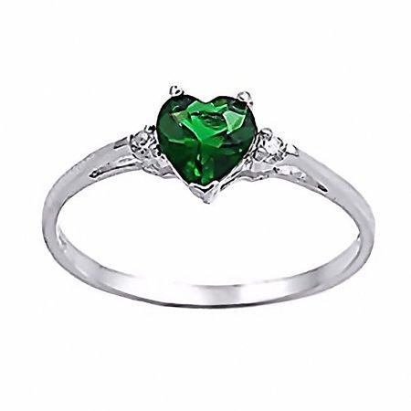 Jadyn: 0.81ct Heart Cut Simulated Emerald Promise Friendship Ring sz